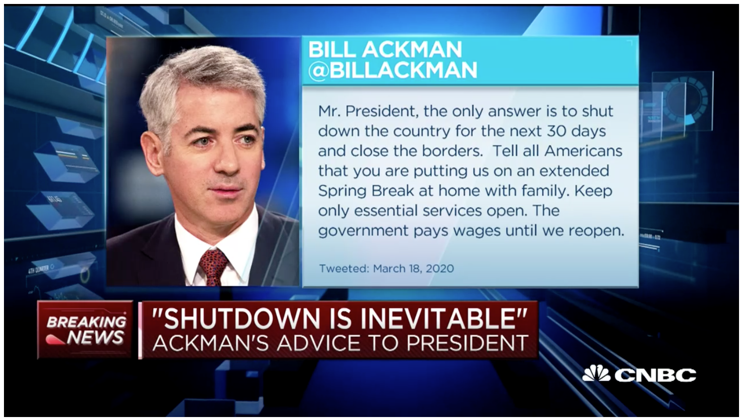 Bill Ackman says coronavirus will kill 1 million Americans if U.S. doesn't shut down everything for 30 days
