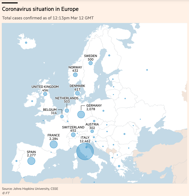 European Coronavirus Cases as of March 12, 2020 - data compiled by Financial Times