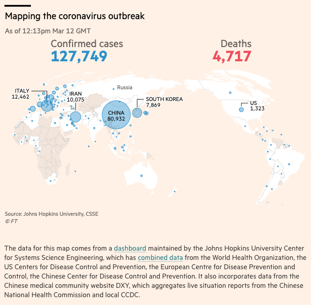 Global Coronavirus Cases and Deaths as of March 12, 2020 - data compiled by Financial Times